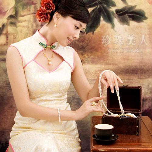 珍珠项链如何搭配旗袍