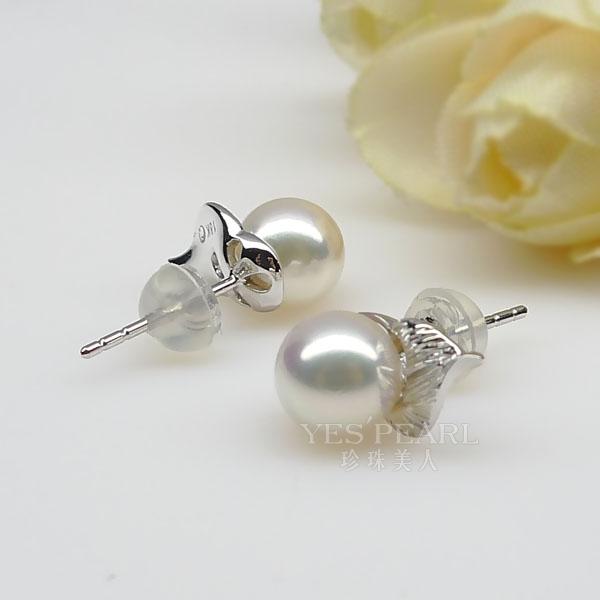 5 7mm白色海水珍珠耳环 价格 图片 款式 多少钱 珍珠美人网 -白色海