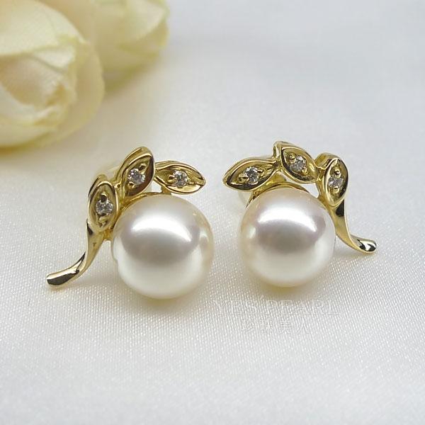 5 8mm白色海水珍珠耳钉 价格 图片 款式 多少钱 珍珠美人网 -白色海