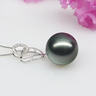 12mm大溪地黑珍珠吊坠 价格 图片 款式 多少钱 珍珠美人网