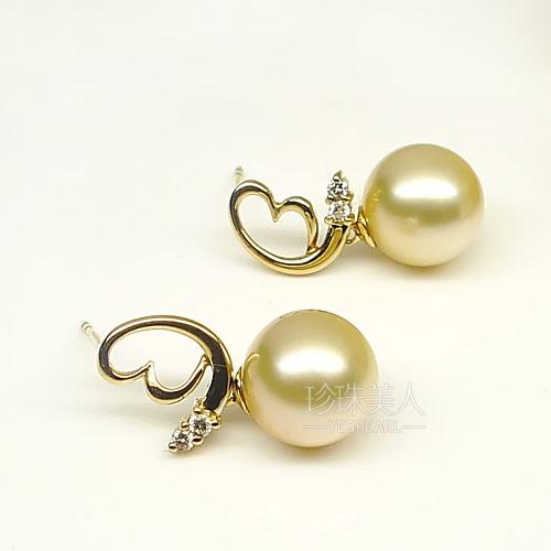 金色南洋珍珠耳环