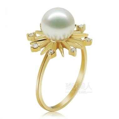 白色淡水珍珠戒指【雪の心愿】