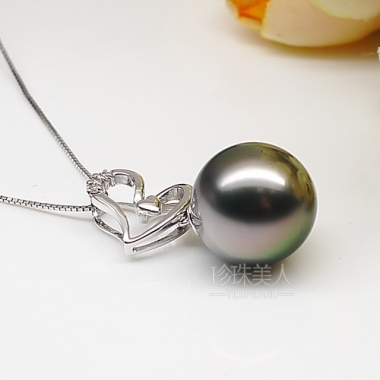 .5mm大溪地黑珍珠吊坠 价格 图片 款式 多少钱 珍珠美人网